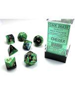 Gemini Polyhedral Black-Green/gold 7-Die Set