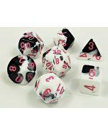 Gemini Polyhedral Black-White/pink 7-Die Set
