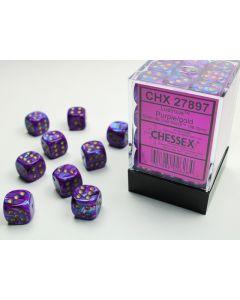 Lustrous 12mm d6 Purple/gold Dice Block (36 dice)