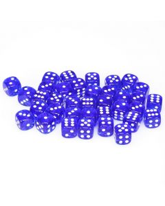 12mm d6 Dice Block - Blue with White - Translucent (36)