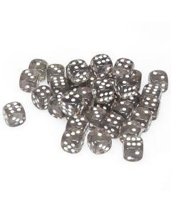 Translucent 12mm d6 Smoke/white Dice Block (36 dice)