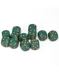 Opaque 16mm d6 Dusty Green/copper Dice Block (12 dice)