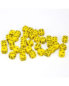 12mm d6 Dice Block - Yellow with Black - Opaque (36)
