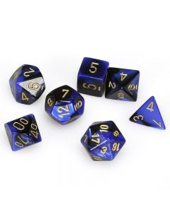 Gemini Polyhedral Black-Blue/gold 7-Die Set