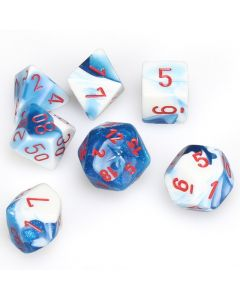 Gemini Polyhedral Astral Blue-White w/red 7-Die Set