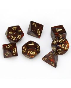 Scarab Polyhedral Blue Blood/gold 7-Die Set