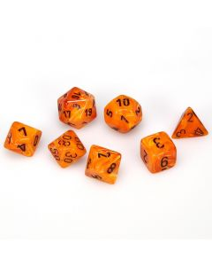 Vortex Polyhedral Orange/black 7-Die Set