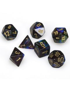 Lustrous Polyhedral Shadow/gold 7-Die Set