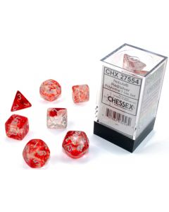 Nebula Polyhedral Red/silver Luminary 7-Die Set