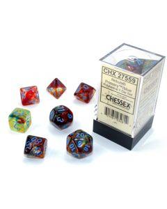 Nebula Polyhedral Primary/blue Luminary 7-Die Set