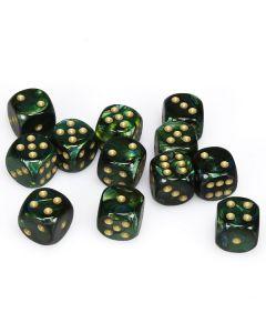 Scarab 16mm d6 Jade/gold Dice Block