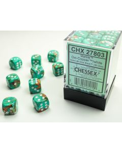 Marble 12mm d6 Oxi-Copper/white Dice Block (36 dice)
