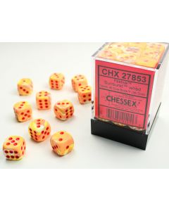 Festive 12mm d6 w/pips Sunburst/red Dice Block (36 dice)