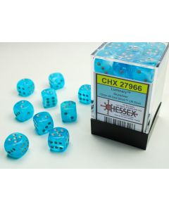Luminary 12mm d6 Sky/silver Dice Block (36 dice)